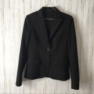 theory • Black Pinstripe 2Button Wool Blend Blazer